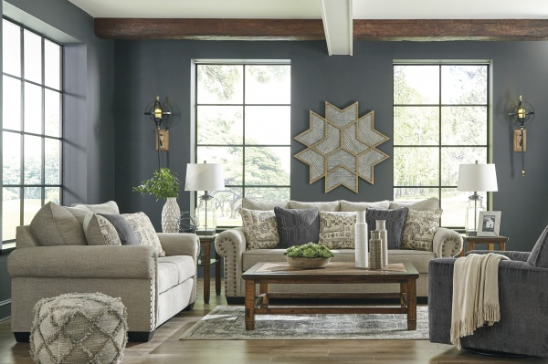Sterling Plus - Living Rooms - Ashley - 97704 - Transitional Beige / Blue - Queen Sleeper, Sofa, Love Seat and Chair.