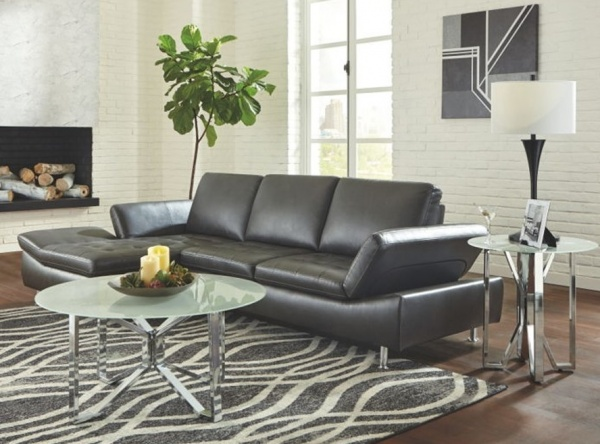 Sterling Plus - Living Rooms - Ashley - 37206 Sectional - Contemory Grey Leather Look Sectional.
