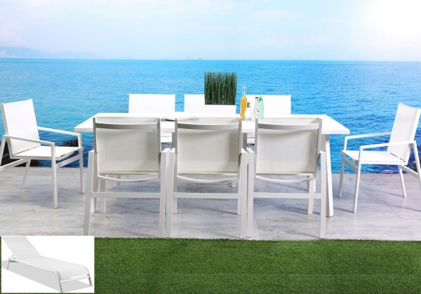 STERLING PLUS - PATIO  WTL-RIO MODERN WHITE TABLE AND 6 OR 8 CHAIRS.
