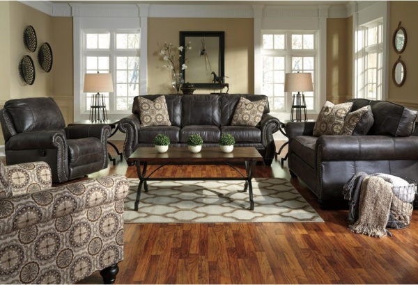 Sterling Plus - Living Room - Ashley - 80004 Queen Sleeper, Sofa Love Seat and Chair.  Dark Brown Leather look.