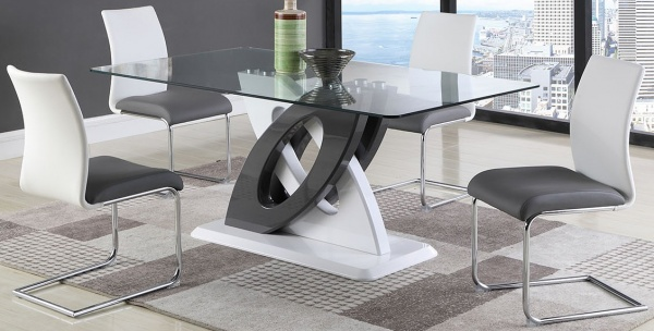 """STERLING DINING - 39X67 DINING TABLE - GLASS TOP TABLE WITH DOUBLE """"O"""" 2-TONE BASE W/ WOOD FLOOR PLATE. COLOR FINISH:  GLOSS GREY/WHITE.  SHOWN WITH 2-TONE DINING CHAIR (GREY/WHITE) - STELLA COLLECTION - CHI."""