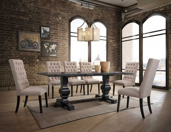 EXECUTIVE DININGROOM - ACME - 74645 / 74647 - 40X88 VINTAGE BLACK WOOD RECT DINING TABLE WITH (6) TAN LINEN UPH SIDE CHAIRS - MORLAND COLLECTION.