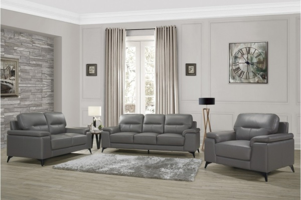 EXECUTIVE L/R DARK GREY LEATHER SOFA, LOVESEAT, CHAIR. MISCHA COLLECTION - SNA.